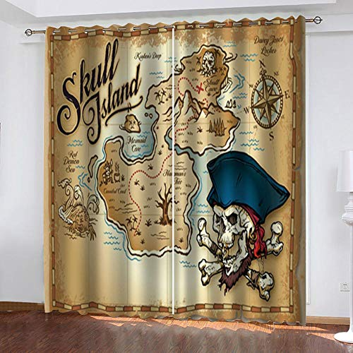 "Grommet Thermal Insulated Room Darkening Curtains Blackout Curtains for Bedroom Insulated Heavy Weight Textured Rich 2 Panels 140"" W x 160"" Hcm Map Skull"