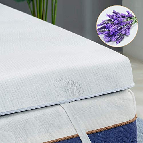 BedStory Mattress Topper Viscoelastic 135x190x5cm Ergonomic Mattress with Removable Cover with Essence of Lavender CertiPURUS Microfiber Cover Ventilated Design Certificate