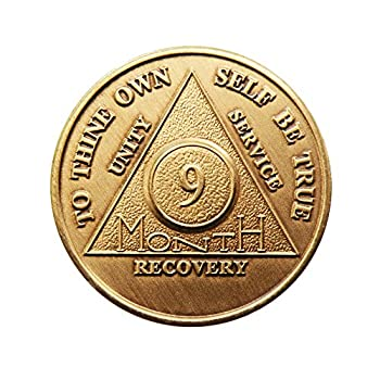 9 Month Bronze AA  Alcoholics Anonymous  - Sober / Sobriety / Birthday / Anniversary / Recovery / Medallion / Coin / Chip by Generic