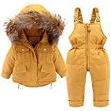 Minizone Kids Snowsuit Winter Hooded Down Jacket + Snow Bib Pants 2PCS Baby Boys Girls Fashionable and Lightweight Ski Suit for Toddler 2-3 Years Yellow