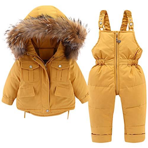 Baby Daunenjacke und Daunenhose 2PCS, Mädchen Winter Mantel mit Kapuze Kinder Skianzüge 3-4 Jahre