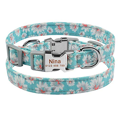 Collar de Perro pequeño Grande Personalizado con Nombre Grabado Personalizado Etiqueta de identificación niño niña Perros Collar de Perro Unisex-Dog_Collar_D_L_36-55cm__