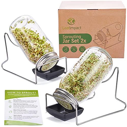 2 Vaso De Germinador | Juego Completo para Cultivar Brotes En Interior | Brotes Orgánicos Fáciles En Casa | Kit De Iniciación A La Germinación | para Germinar Brócoli, Alfalfa y Más