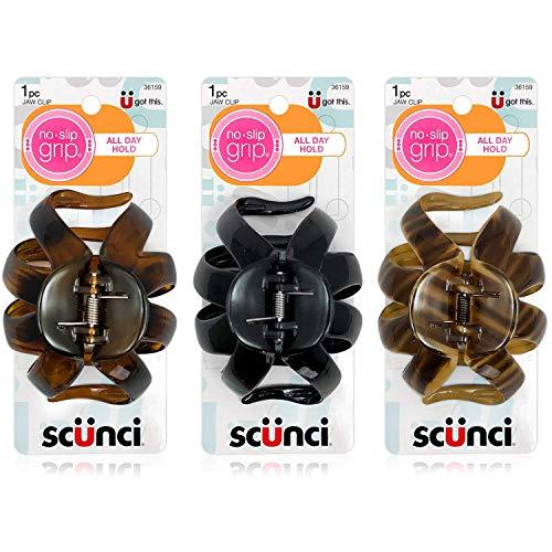 Scunci No-slip Grip Octopus Clip, 8.5 Cm, [Natural, Tortoise Shell, Black] Set of 3 by Scunci