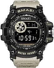 Men Military Sport Watch Fashion Multifunction Digital Watches Alarm Stopwatch Waterproof LED Wristwatch (Khaki)