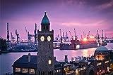 Hamburg Stadt Nacht Hafen XXL Wandbild Kunstdruck Foto