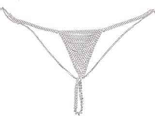 Lady Rhinestone Underpants Special Design Belly Chain Statement Trendy Female Panties Body Chain