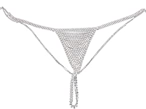 Althrorry Lady Rhinestone Underpants Special Design Belly Chain Statement Trendy Female Panties Body Chain
