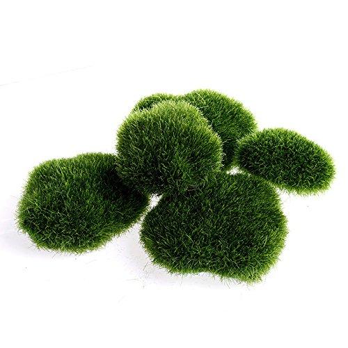 LANDUM 5 Piezas Artificial Verde Musgo Piedra Fake Rock Micro Paisaje Decoración Accesorios Tamaño Mixto