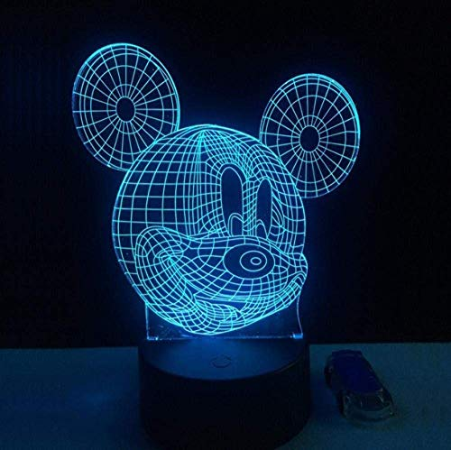 Festival Illusion Night Light 3D Cute Mickey Mouse Led Lámpara de Escritorio de Mesa 7 Colores Carga USB Ilumina la Decoración del Dormitorio para Niños Navidad Halloween Regalo de Cumpleaños