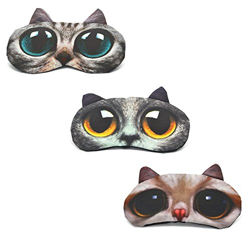 Cute Sleep Eye Mask for Sleeping Cartoon Cat Super Soft and Lightweight Eye Cover Blindfold Eyeshade for Men Women and Kid, 3 Pack