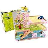 MAJOZ0 Aparcamiento de madera de 3 pisos con elevador, garaje de aparcamiento con 3 mini coches deportivos, 1 helicóptero, garaje de madera, juguete regalo para niños