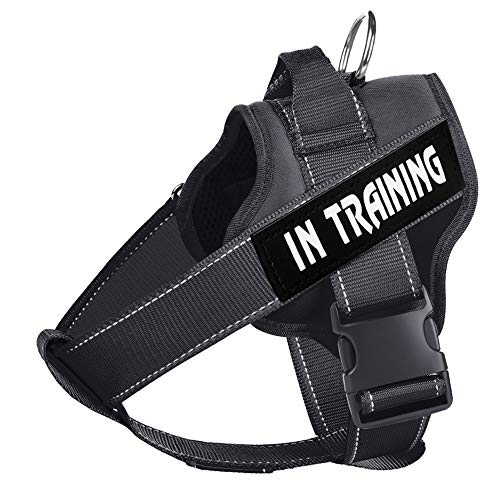 WOCUME Dog Harness No Pull Pet Vest Harness Fixed Adjustable Training Vest with Handle, Dog Vest 3M Reflective Walking Harness for Large Dogs Easy Control Harness(L,Black)
