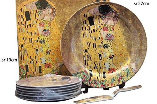 Atelier Harmony Gustav Klimt Tortentellerset 8teilig Porzellan Motiv Der Kuss beige