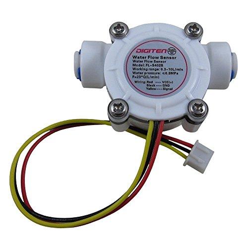 "DIGITEN G1/4"" Quick Connect Hall Effect Sensor Water Flow Sensor Food-Grade Flowmeter Water Flow Counter Meter 0.3-10L/min - Arduino, Raspberry Pi, and Reverse Osmosis Filter Compatible"