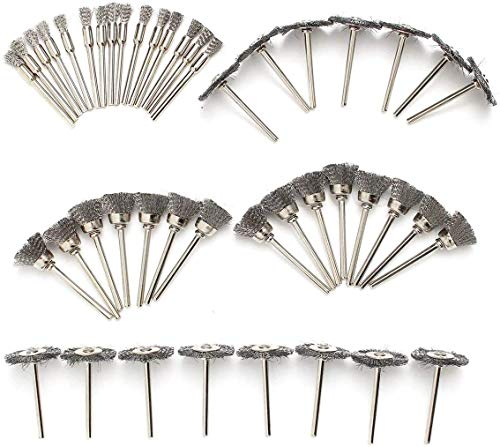 LATERN 60 Piezas Cepillos de Rueda de Alambre de Acero, Vástago de 1/8 Pulgadas Cepillo de Pulido de Limpieza para Herramienta Rotativa Dremel
