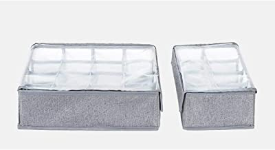 Closet Underwear Organizer Oxford Cloth Drawer Organisers Foldable Storage Box with Lids for Socks Ties Scarves (Set of 2),B