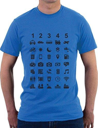Reiseshirt Mit 40 Zeichen zur Verständigung T-Shirt X-Large Hellblau