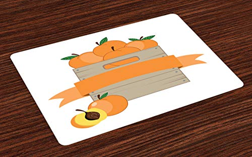 ABAKUHAUS Perzik Placemat Set van 4, Doos met Delicious Fruit van de zomer, Wasbare Stoffen Placemat voor Eettafel, Apricot Dusk and White