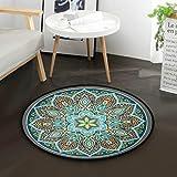 Mnsruu Boho Mandala türkis rund Bereich Teppich für Wohnzimmer Schlafzimmer 3' Durchmesser (92 cm)