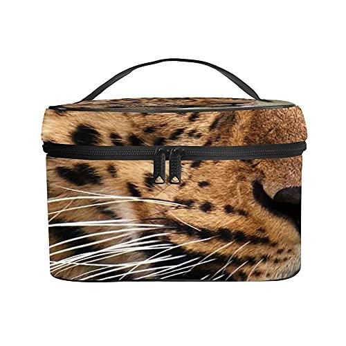 Reise Kosmetiktasche Portable Make Up Organizer Tasche Kulturbeutel Große wasserdichte Waschtasche für Damen und Mädchen (Leopard)