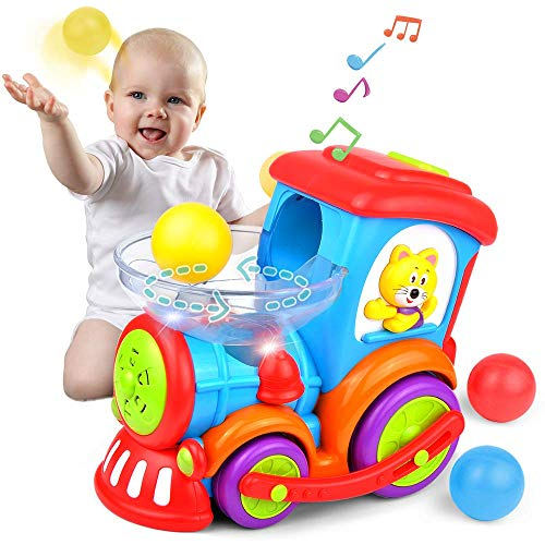 Kidpal Baby Toy, Ball Popping Educational Toddler Train Toys for 1 2 3 Year Old Boys& Girls, Light, Music, Chase, Ball Popper, Bump Ball Baby Car Toy for 12M 16M 18M 24M+ Infant Train Activity Center