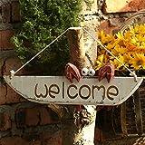 GIGIEroch Welcome Sign Personalisierte Sweet Home Willkommensschild mediterranen Stil niedliche kleine Krabbe handgefertigte Holzschild Plakette for Outdoor Haustür Veranda Bar Cafe Wohnkultur