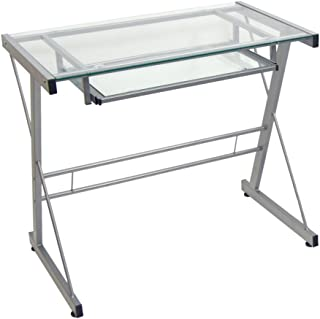 Glass Metal Silver Computer Desk