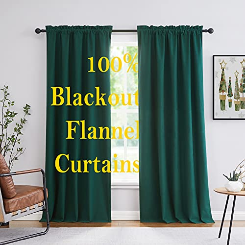 """Green Velvet Curtain Panels 84"""" Length Full Blackout Curtains for Bedroom Living Room Thermal Insulated Cotton Feel Window Drapes for Chrismas Holday Décor Hotel Rod Pocket 2pcs"""