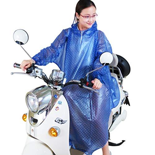 XGYUII Regenmantel Mit Ärmeln Elektroauto Motorrad Fahrrad Erwachsene Regenmantel Matte Welle Punkt Transparent PVC Poncho Mantel Regenbekleidung,Blue