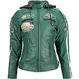 Urban Leather Chaqueta de piel para mujer '58 LADIES', verde oscuro, S