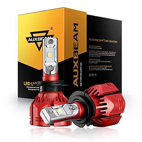 Auxbeam W Series H7 Led Bulbs Conversion Kits Super Bright SMD LED Chips 70W 6500K, with 2 Pcs of Decoder