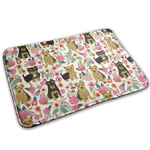 Alfombrillas antideslizantes con flores bonitas de Yorkshire Terrier, alfombrilla de bienvenida para el jardín del hogar, alfombra de entrada, alfombrilla para pies para felpudos de baño 40x60cm