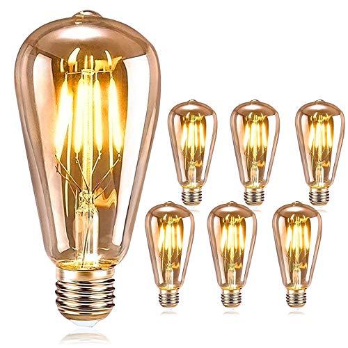 DASIAUTOEM Bombilla Vintage E27, Edison LED Vintage Bombilla 4W ST64 Bombilla Retro LED Lámpara Ámbar Cálido Bombillas Decorativa para Casa, Restaurante, Bar, Cafetería, Tienda Boda Decoración