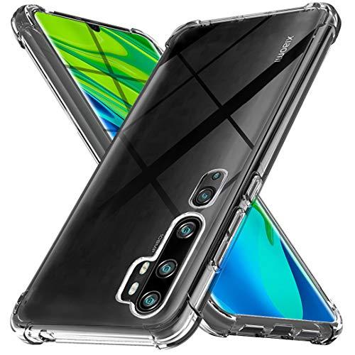 Ferilinso Hülle für Xiaomi Mi Note 10/ Note 10 Pro Hülle, [Version mit Vier Ecken verstärken] [Kamerapflegeschutz] Stoßfeste, weiche TPU-Silikonhülle aus Gummi (Transparent)