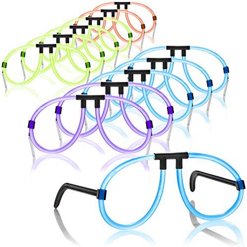 com-four® 12x Knicklichter-Brille - auffällige Partybrille aus Leuchtstäben, trendig leuchtende Farben für Party, Festival, Club und Events im Dunkeln