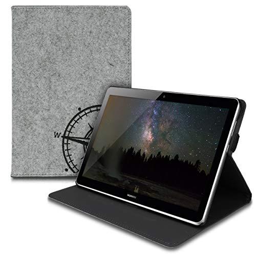 kwmobile Huawei MediaPad T3 10 Hülle - Tablet Cover Case Schutzhülle für Huawei MediaPad T3 10 mit Ständer - Kompass Vintage Design Schwarz Hellgrau