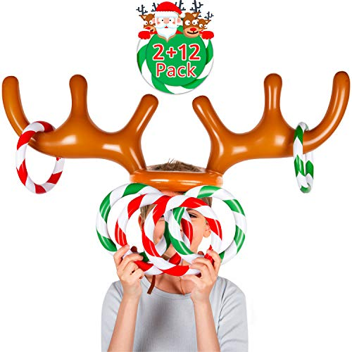 Joyjoz Two-Player Inflatable Reindeer Antler Ring Toss Game for Xmas Party (2 Antlers 12 Rings)