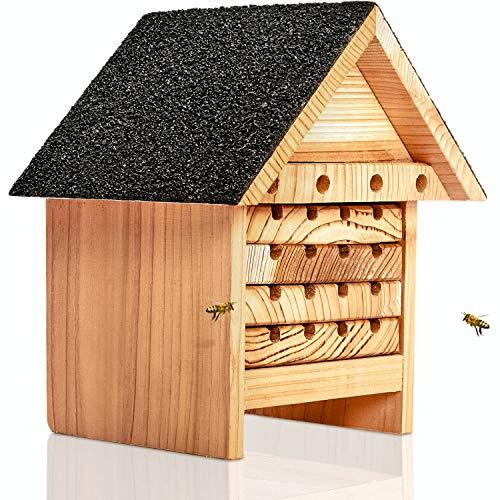 deintierhaus.de© | Bienenhotel aus Naturholz - Insektenhotel für Bienen - Nisthilfe & Unterschlupf für Wildbienen - wetterbeständiges unbehandeltes Bienenhaus für Garten oder Balkon | 21 x 19 x 13 cm
