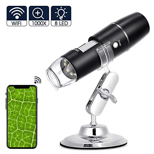 Microscopio Digital WiFi, Recargable 1000x Microscopio USB Portatil HD con Zoom, 8 LED, USB 2.0, Soporte de Metal, Min Microscopio Endoscopio Camara para iPhone iOS Android iPad