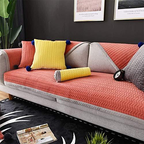 J-Kissen Eindickung Plüsch Sofa Slipcover, for 1/2/3/4 Seater, Kurze Plüsch-Sofa-Kissen verdicken Stoff Einfache Moderne Anti-Rutsch-Wohnzimmer-Kissen-Sofa-Abdeckung Handtuch