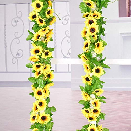 Xinger Zijden Zonnebloem KlimopwijnstokKunstbloemen Met Groene Bladeren Hangende Slinger Tuinhekken Thuis Bruiloft Decoratie