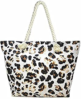 Holly Chic LA Leopard Print Canvas Tote bag Women, Leopard Beach Canvas Tote Bag For Travel, Large Shopper Beach Pool Canv...