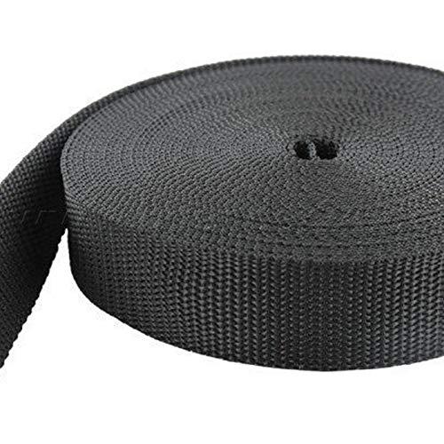 BAENDER24 10m PP Gurtband - 40mm breit - 1,8mm stark - schwarz (UV)