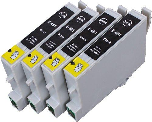 4 Multipack de alta capacidad Epson T0487 Cartuchos Compatibles 4 negro para Epson Stylus Photo R200, Stylus Photo R220, Stylus Photo R300, Stylus Photo R340, Stylus Photo RX500, Stylus Photo RX600, Stylus Photo RX640. Cartucho de tinta . T0481  123 Cartucho