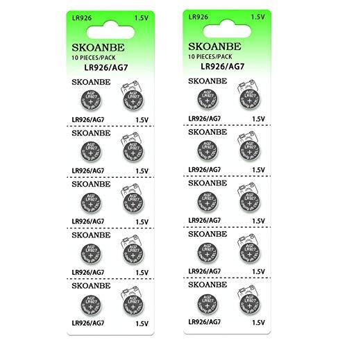 SKOANBE 20Pack 1.5V SR927SW LR926 395 399 AG7 Watch Button Cell Batteries