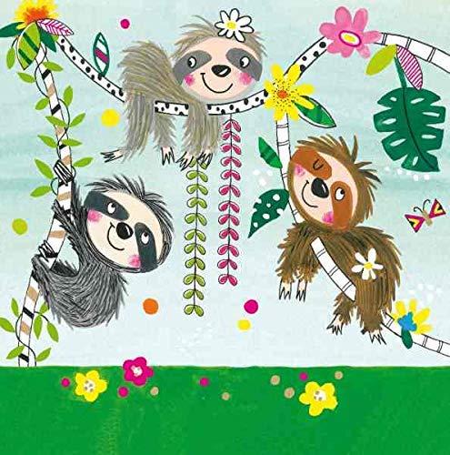 Neu: 20 Servietten * Faultiere * für Kindergeburtstag und Motto-Party   Urwald Wald Faultier faul Tier Mottoparty Kindergeburtstag Geburtstag Kinder Geburtstag Mottoparty
