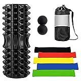 Odoland Foam Roller Kit 8-in-1 con Pallina Massaggio e Fasce Elastiche di Resistenza - Rullo di Schiuma per la Terapia Muscolare, Rullo di Gomma Piuma per la Schiena 33 cm x 14 cm