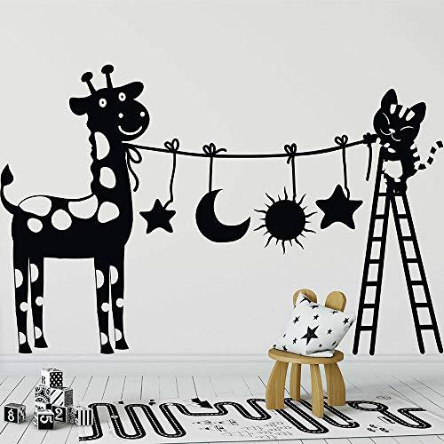 Sanzangtang Leuke kat en koe familie decoratie grappige kat met ladder muursticker van vinyl kunst afneembaar muursticker