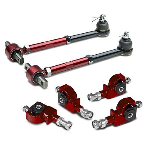 Replacement for Honda Accord/Acura TL/CL Adjustable Ball Joint Rear+Front Camber Kit (Red) - CB/CD